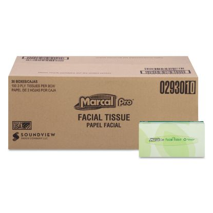 Picture of 100% Recycled Convenience Pack Facial Tissue, Septic Safe, 2-Ply, White, 100 Sheets/Box, 30 Boxes/Carton