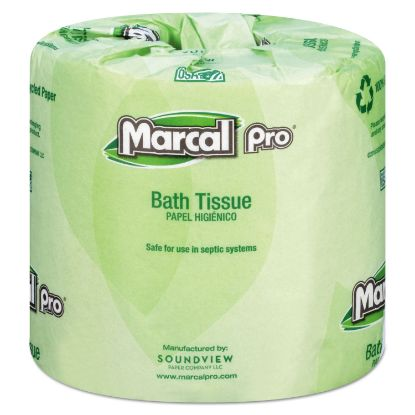 Picture of 100% Recycled Bathroom Tissue, Septic Safe, 2-Ply, White, 242 Sheets/Roll, 48 Rolls/Carton