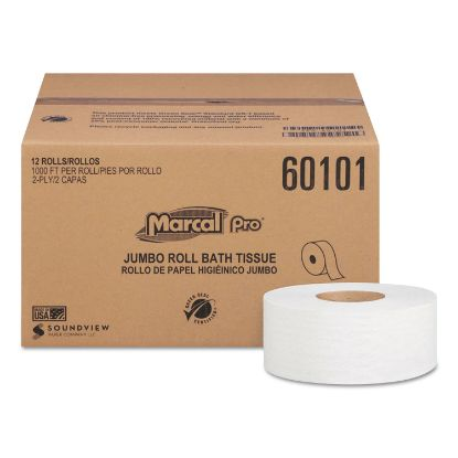 Picture of 100% Recycled Bathroom Tissue, Septic Safe, 2-Ply, White, 3.3 x 1000 ft, 12 Rolls/Carton