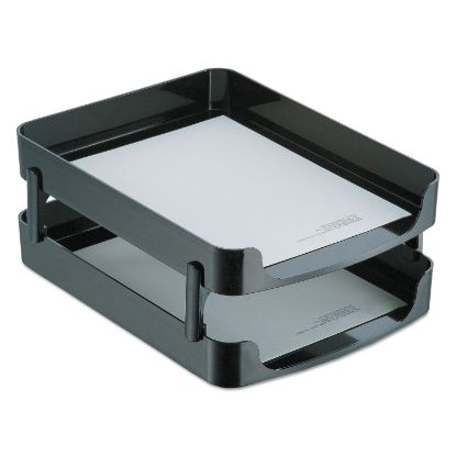 """Picture of 2200 Series Front-Loading Desk Tray, 2 Sections, Letter Size Files, 10.25"""" x 13.63"""" x 2"""", Black"""
