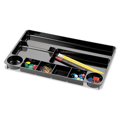 Picture of 9 Compartment Recycled Desk Drawer Organizer, Plastic, 14 x 9 x 1 1/8, Black