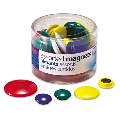 Picture of Assorted Magnets, Circles, Assorted Sizes & Colors, 30/Tub