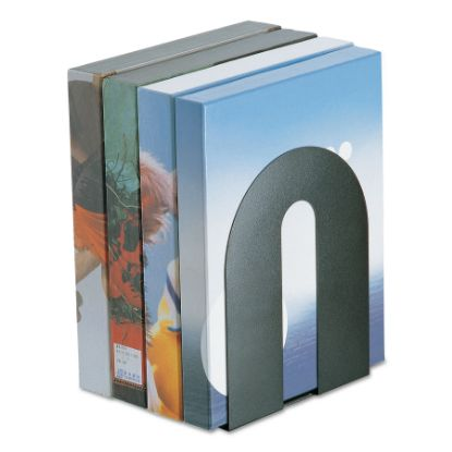 """Picture of Heavy Duty Bookends, Nonskid, 8"""" x 8"""" x 10"""", Steel, Black"""