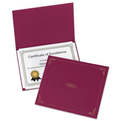 Picture of Certificate Holder, 11 1/4 x 8 3/4, Burgundy, 5/Pack