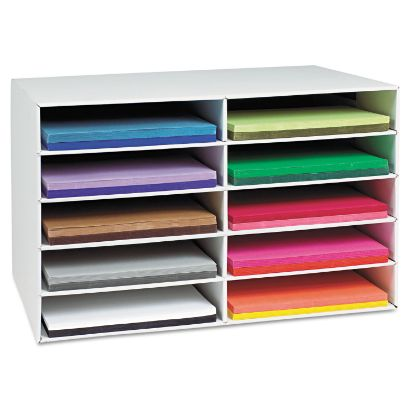 Picture of Classroom Construction Paper Storage, 10 Slots, 26 7/8 x 16 7/8 x 18 1/2