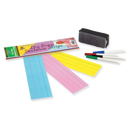Picture of Dry Erase Sentence Strips, 12 x 3, Assorted, 20 per Pack