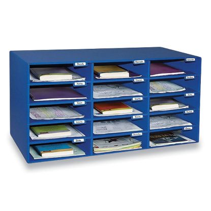 Picture of Classroom Keepers Corrugated Mailbox, 31.5 x 12.88 x 16.38, Blue