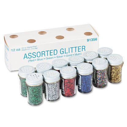 Picture of Spectra Glitter, .04 Hexagon Crystals, Assorted, .75 oz Shaker-Top Jar, 12/Pack