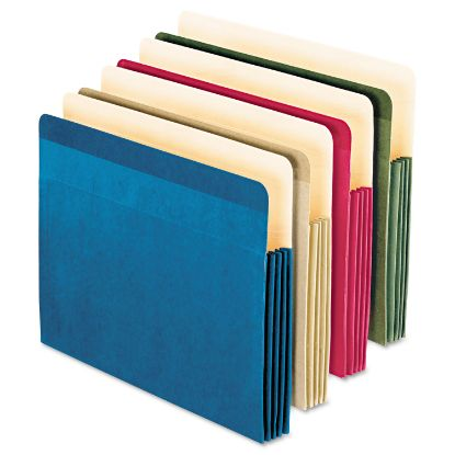 """Picture of 100% Recycled Colored File Pocket, 3.5"""" Expansion, Letter Size, Assorted, 4/Pack"""