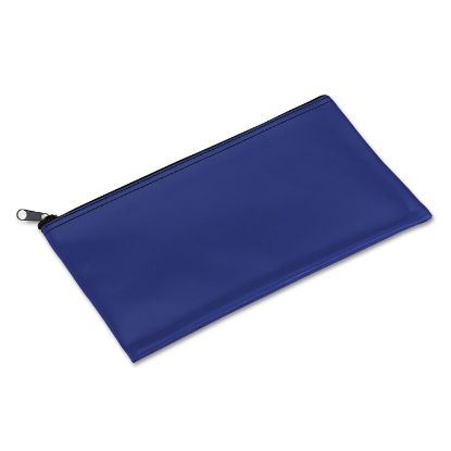 Picture of Bank Deposit/Utility Zipper Bag, Cash/Documents, Vinyl, 11 x 6, Blue