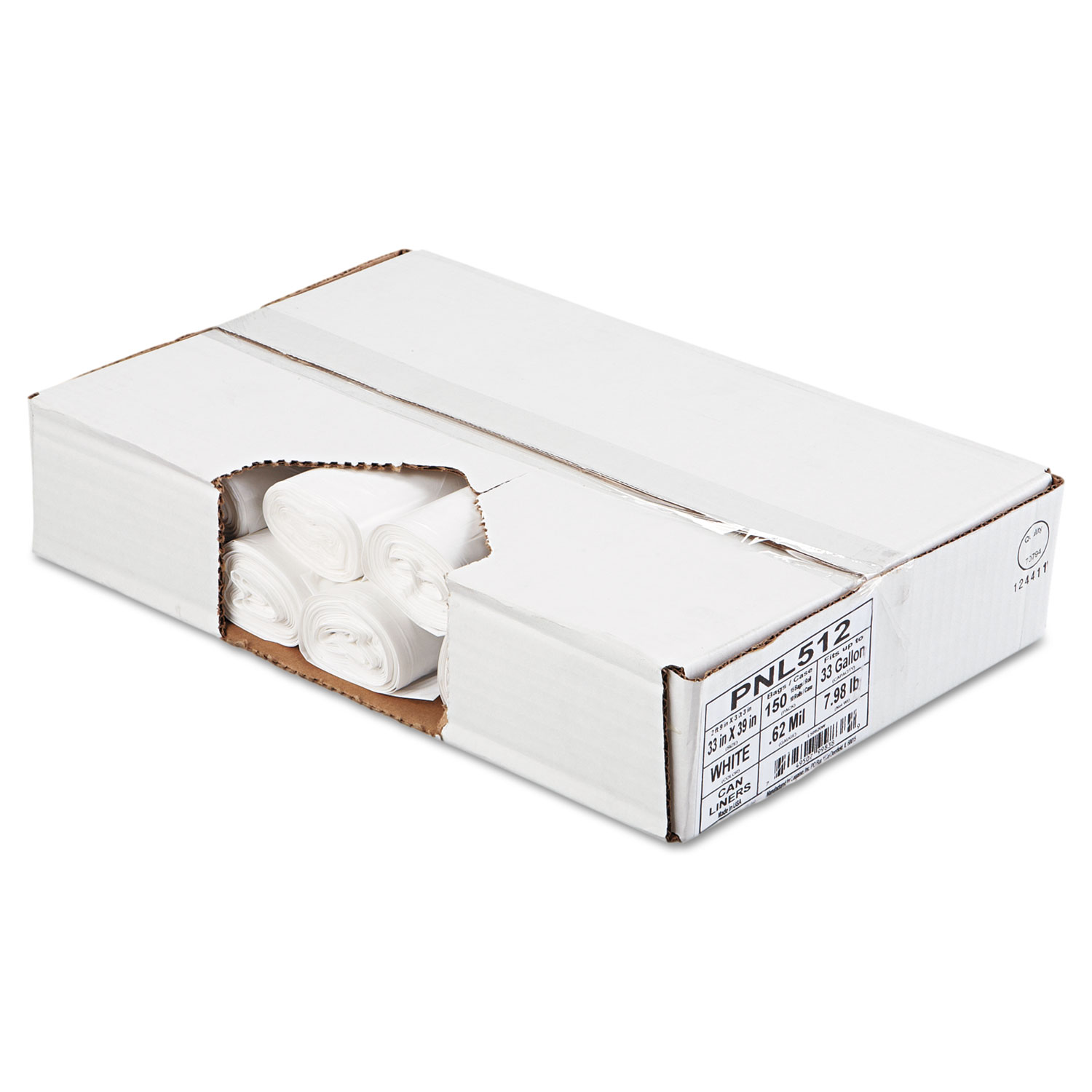 """Picture of Linear Low Density Can Liners, 33 gal, 0.6 mil, 33"""" x 39"""", White, 150/Carton"""