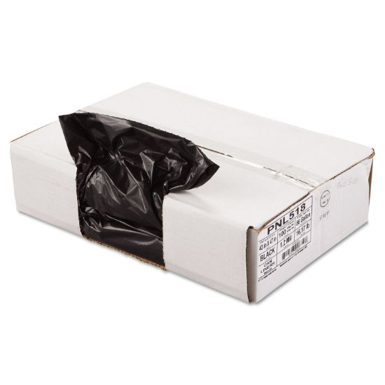"""Picture of Linear Low Density Can Liners, 56 gal, 1.2 mil, 43"""" x 47"""", Black, 100/Carton"""