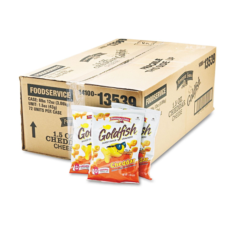 Picture of Goldfish Crackers, Cheddar, Single-Serve Snack, 1.5oz Bag, 72/Carton