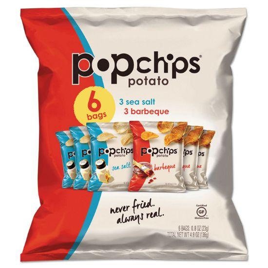 Picture of Potato Chips, BBQ/Sea Salt Flavor, 0.8 oz Bag, 6/Pack