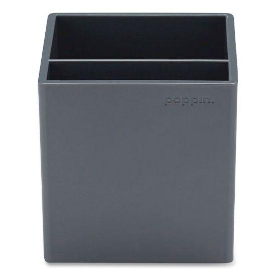 Picture of Pen Cup, 3.25 x 3.25 x 3.25, Plastic, Dark Gray