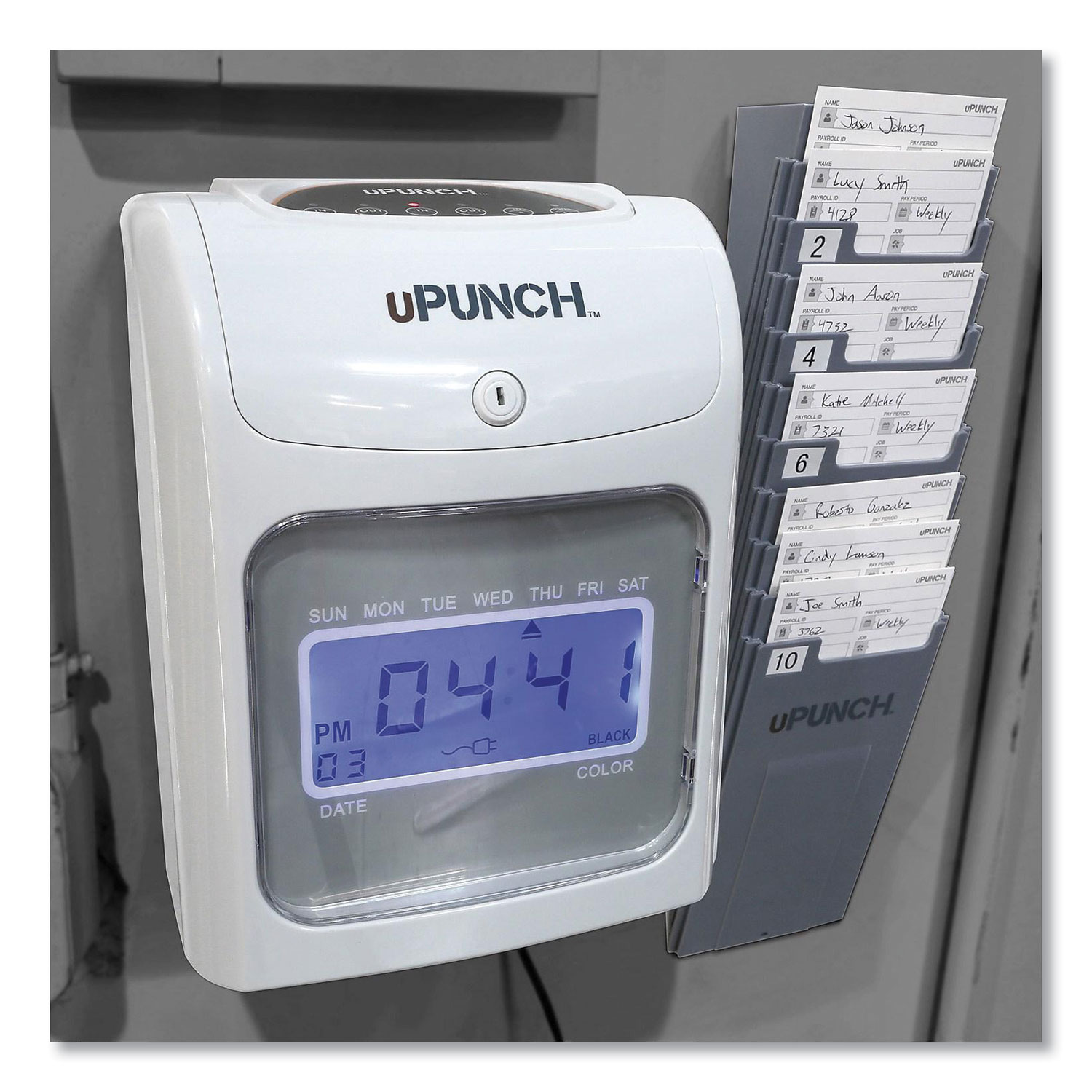 Picture of UB2000 Electronic Calculating Time Clock Bundle, Gray