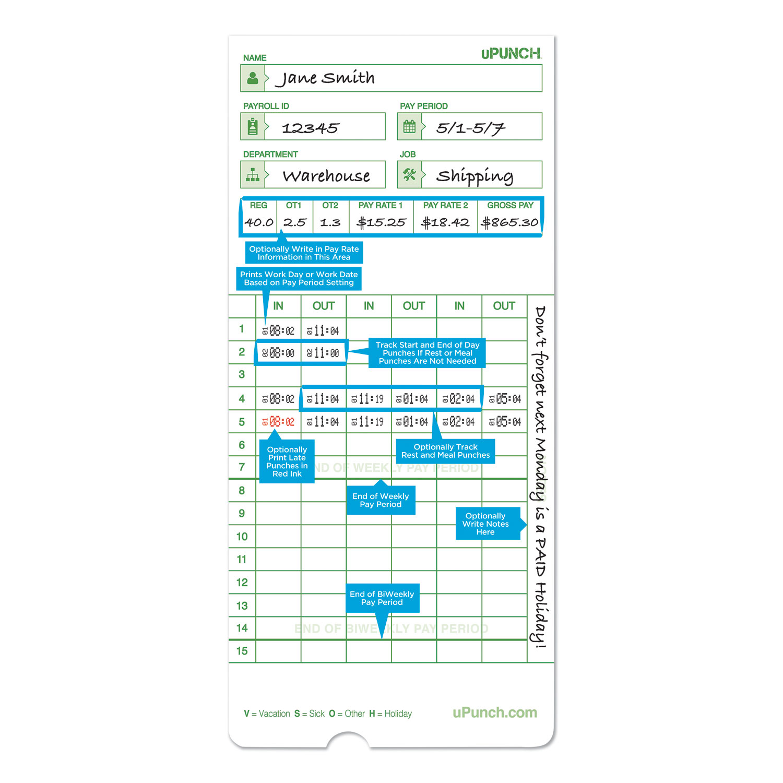 Picture of Time Card for uPunch HN1000, HN3000, HN3600 Bundle, 100/Pk
