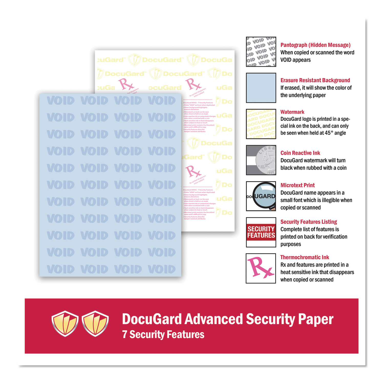 Picture of Medical Security Papers, 24lb, 8.5 x 11, Blue, 500/Ream