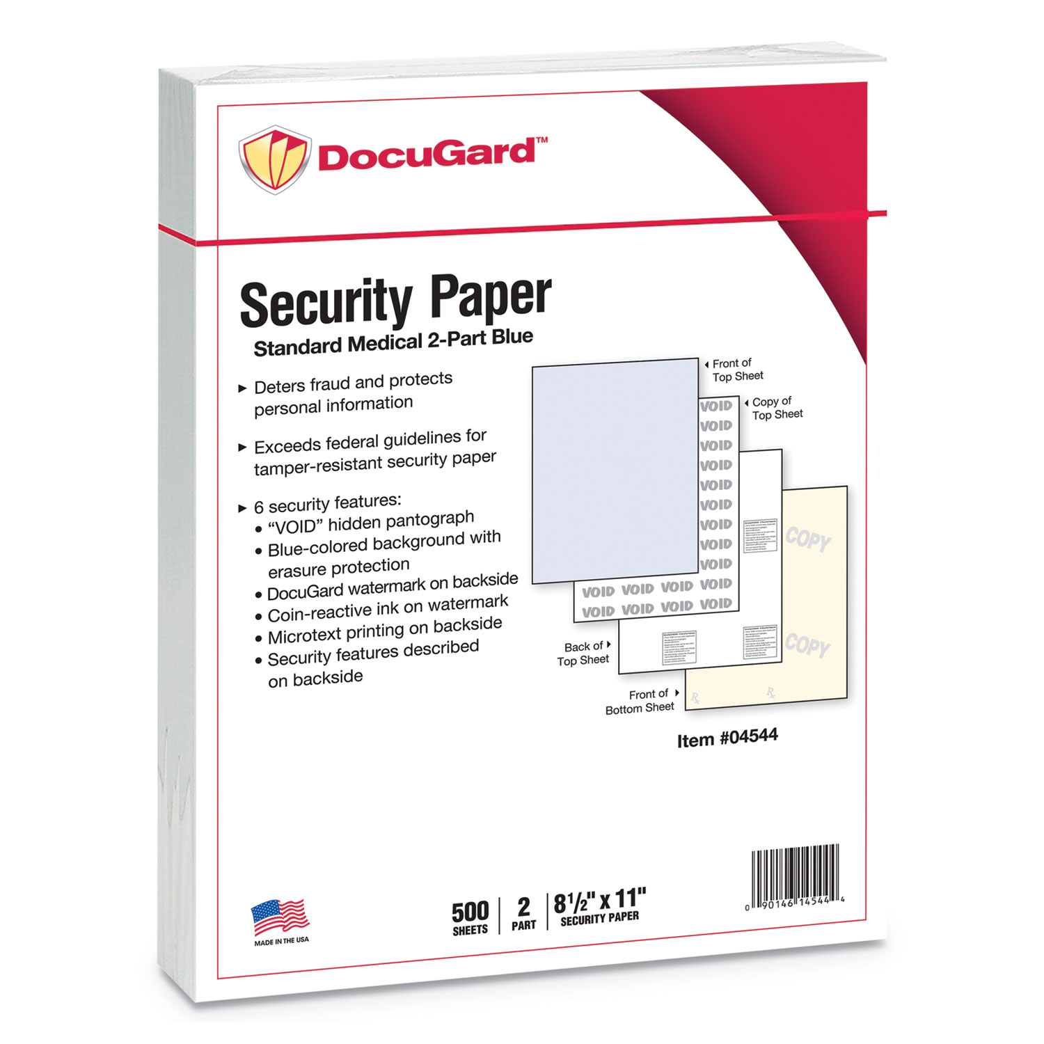 Picture of Medical Security Papers, 2-Part, 32 lb, 8.5 x 11, Blue/Canary, 250/Ream