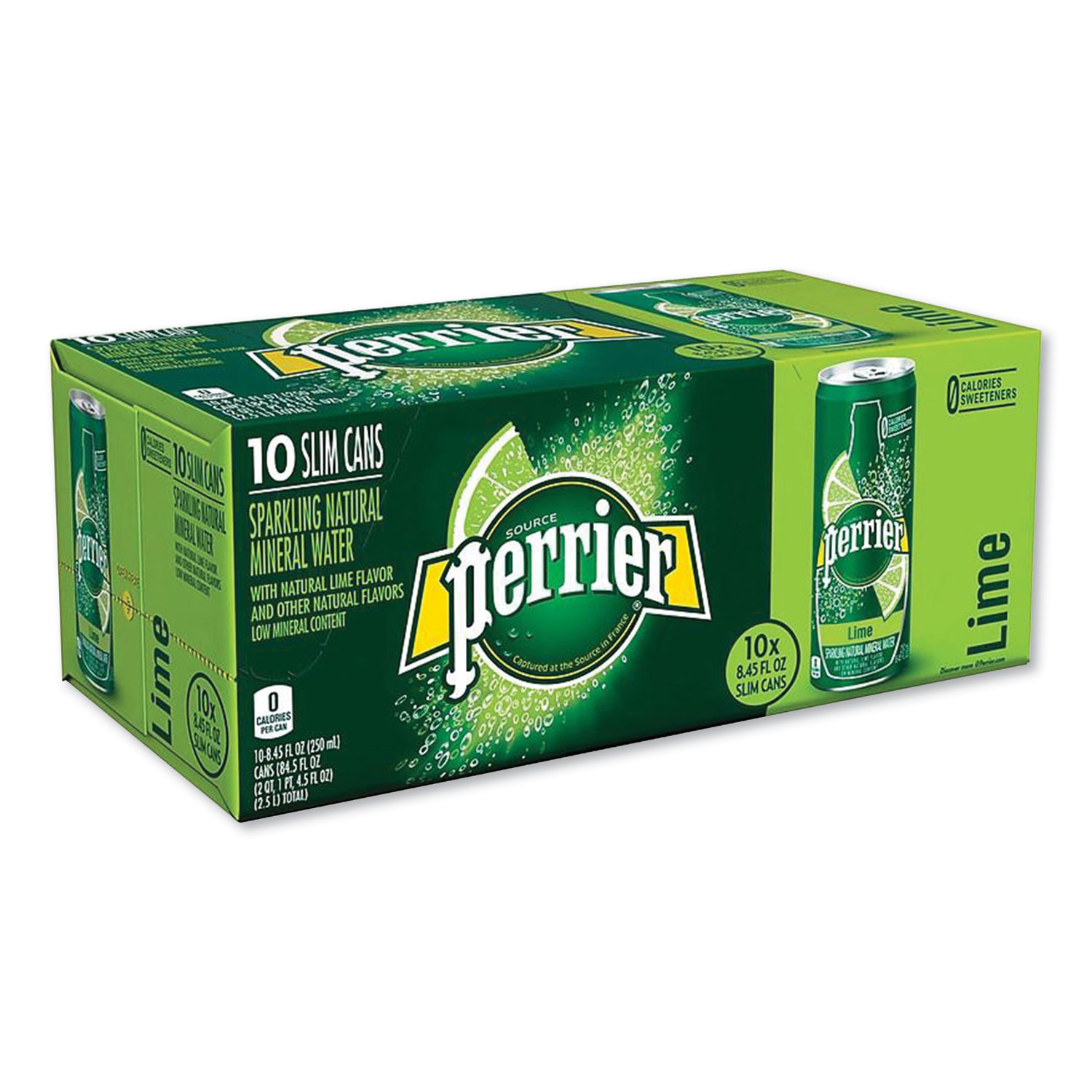Picture of Sparkling Natural Mineral Water, Lime, 8.45 oz Can, 10 Cans/Pack