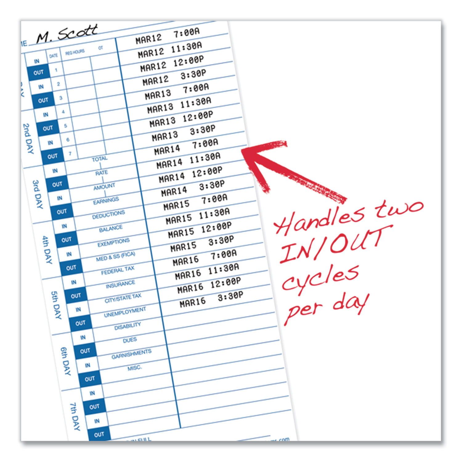 Picture of Time Cards for 3000 Series Time Clocks, Weekly, 4 x 9, 100/Pack