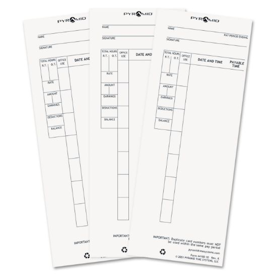 Picture of Time Card for Model 4000 Payroll Recorder, 3-1/2 x 8-1/2, 100/Pack