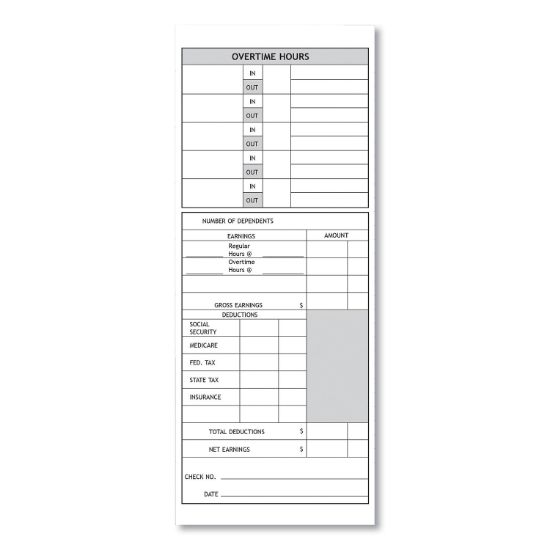 Picture of Time Cards for Models 1000, 2000 Time Clocks, Weekly, Two Sided, 3.5 x 9, 100/Pack