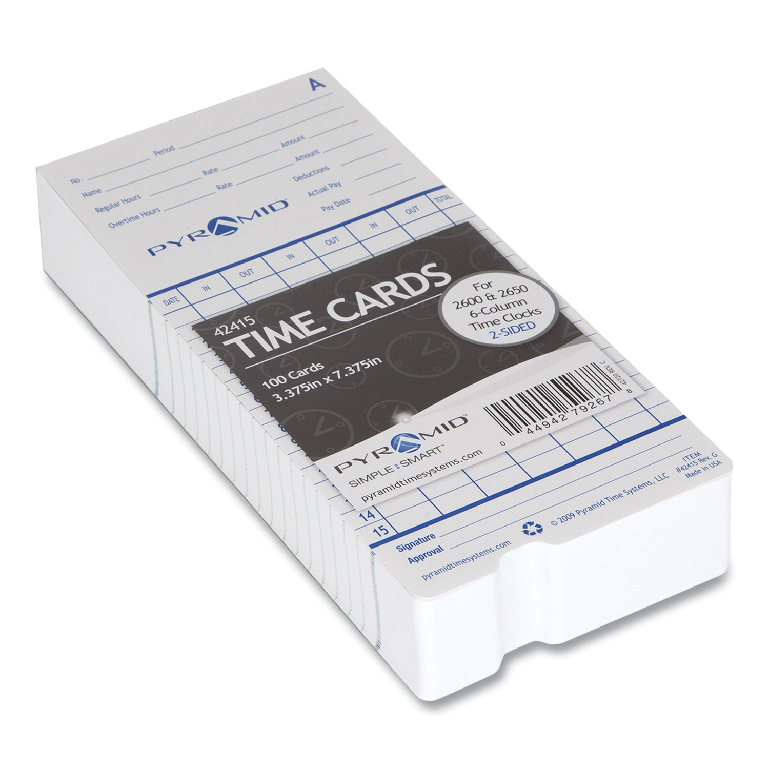 Picture of Time Cards for 2000 and 6000 Series Time Clocks, Monthly, Two Sided, 3.38 x 7.44, 100/Pack