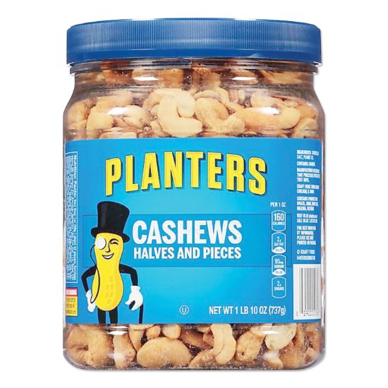 Picture of Salted Cashew Halves and Pieces, 26 oz Canister