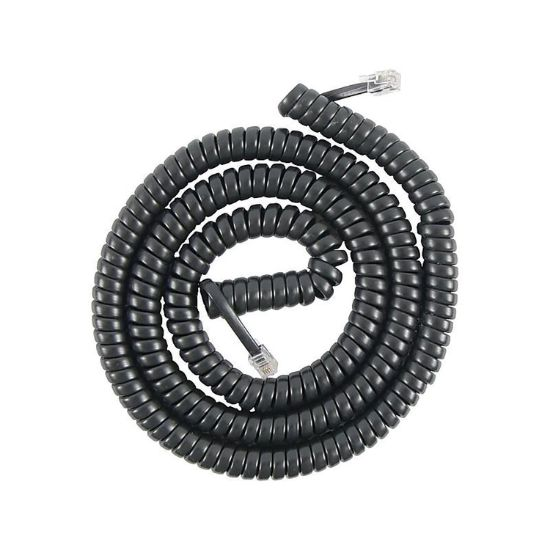 Picture of Coiled Telephone Cord, Plug/Plug, 25 ft, Black