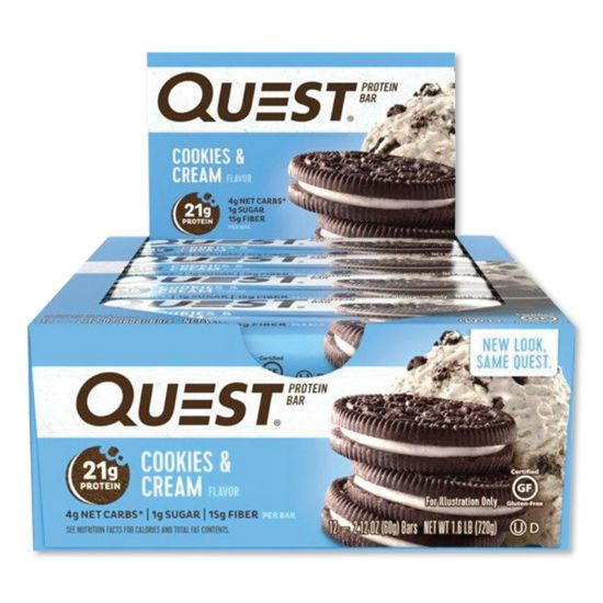 Picture of Protein Bars, Cookies and Cream, 2.12 oz Bar, 12 Bars/Box