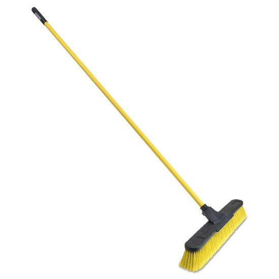 """Picture of Multisurface Pushbroom, 24"""" Brush, 63 3/4"""" Handle, PET/Steel, Yellow/Black"""