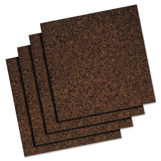 Picture of Cork Panel Bulletin Board, Brown, 12 x 12, 4 Panels/Pack