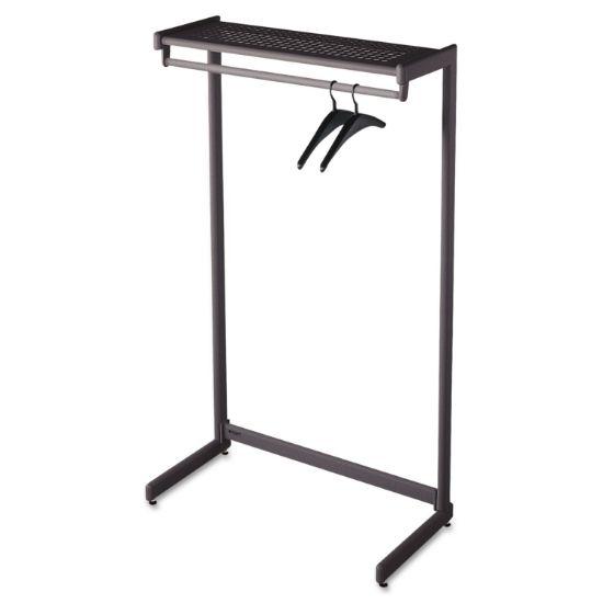 Picture of Single-Side Garment Rack w/Shelf, Powder Coated Textured Steel, 48w x 18.5d x 61.5h, Black