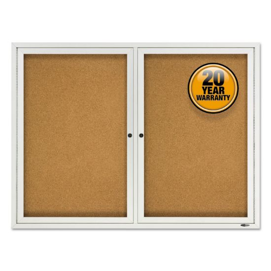 "Picture of Enclosed Cork Bulletin Board, Cork/Fiberboard, 48"" x 36"", Silver Aluminum Frame"