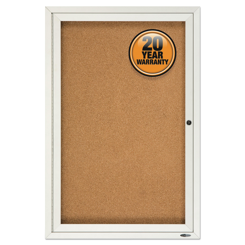 Picture of Enclosed Bulletin Board, Natural Cork/Fiberboard, 24 x 36, Silver Aluminum Frame