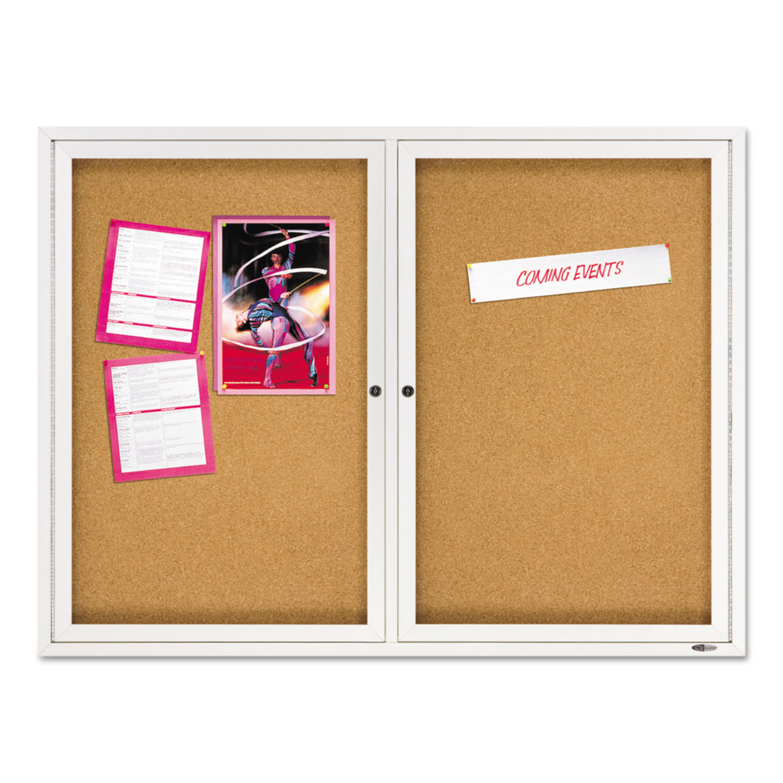 Picture of Enclosed Bulletin Board, Natural Cork/Fiberboard, 48 x 36, Silver Aluminum Frame