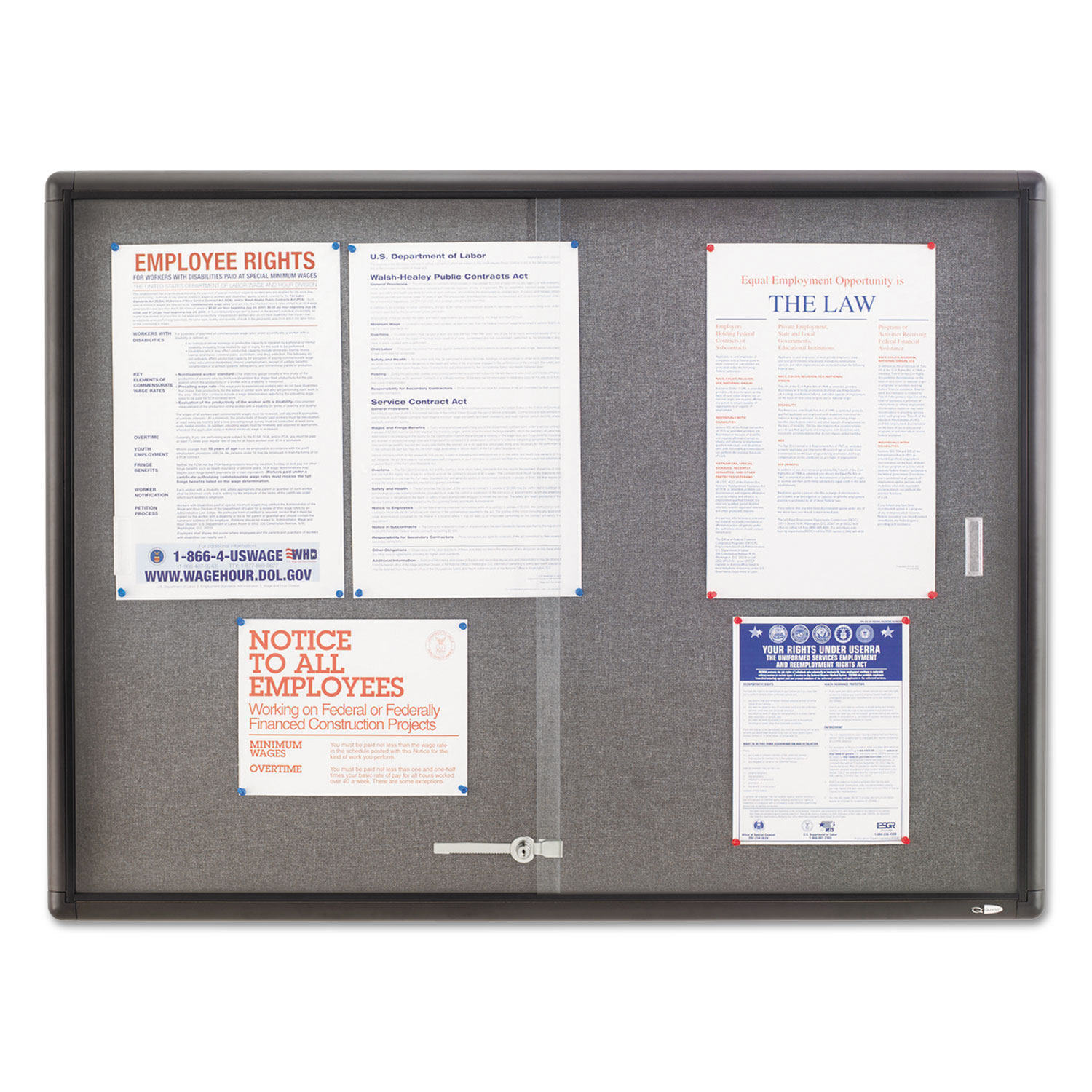 Picture of Enclosed Bulletin Board, Fabric/Cork/Glass, 48 x 36, Gray, Aluminum Frame