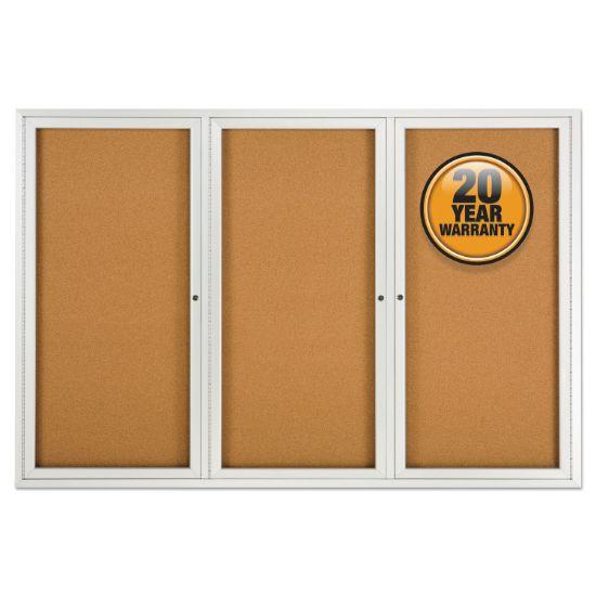 Picture of Enclosed Bulletin Board, Natural Cork/Fiberboard, 72 x 48, Silver Aluminum Frame