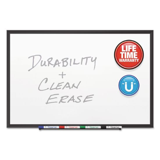 Picture of Classic Porcelain Magnetic Whiteboard, 96 x 48, Black Aluminum Frame