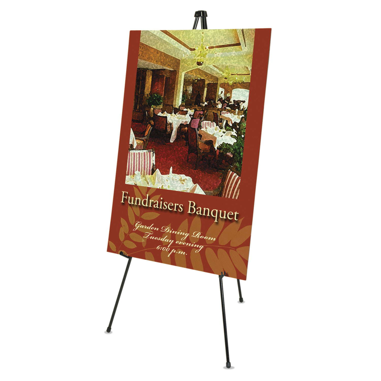 """Picture of Heavy-Duty Adjustable Instant Easel Stand, 25"""" to 63"""" High, Steel, Black"""