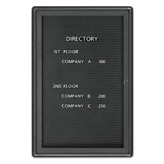 Picture of Enclosed Magnetic Directory, 24 x 36, Black Surface, Graphite Aluminum Frame