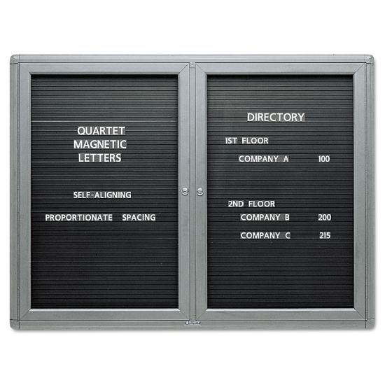 Picture of Enclosed Magnetic Directory, 48 x 36, Black Surface, Graphite Aluminum Frame