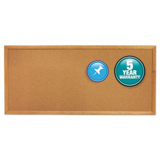 Picture of Classic Series Slim Line Cork Bulletin Board, 12 x 36, Oak Finish Frame