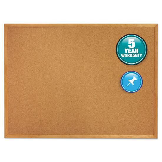 Picture of Classic Series Cork Bulletin Board, 24 x 18, Oak Finish Frame