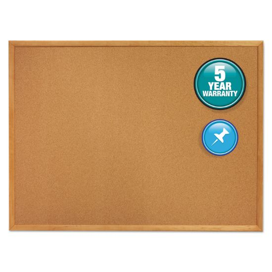 Picture of Classic Series Cork Bulletin Board, 60 x 36, Oak Finish Frame