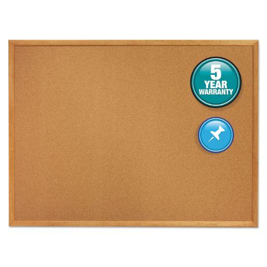 Picture of Classic Series Cork Bulletin Board, 72 x 48, Oak Finish Frame