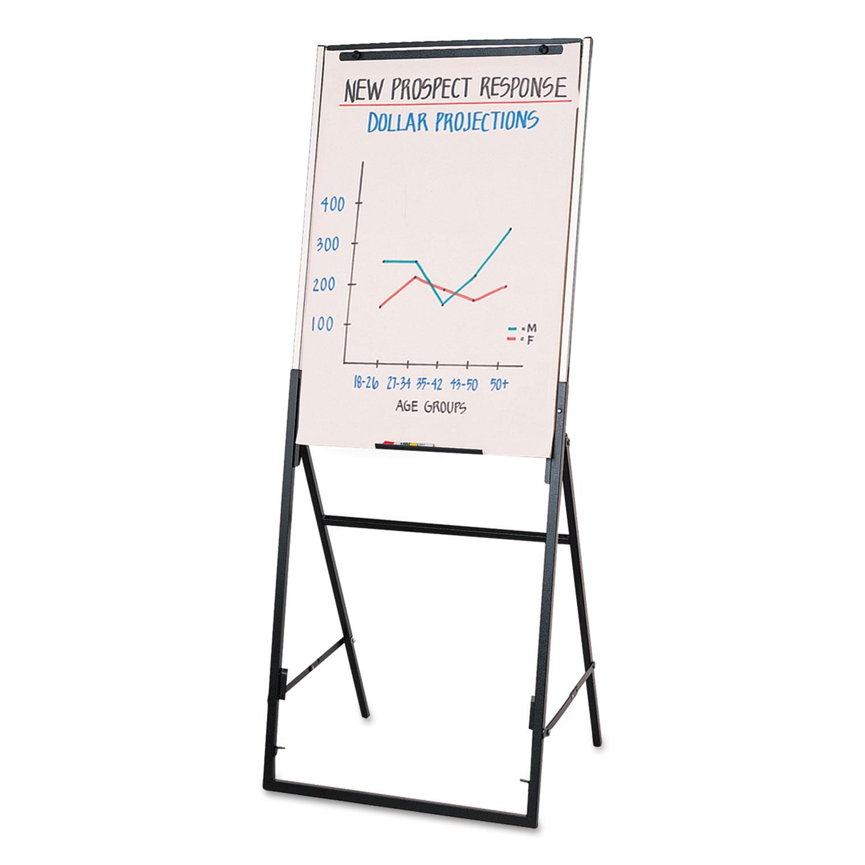 Picture of Futura Dry Erase Presentation Easel, Melamine, 26 x 35, White, Black Frame