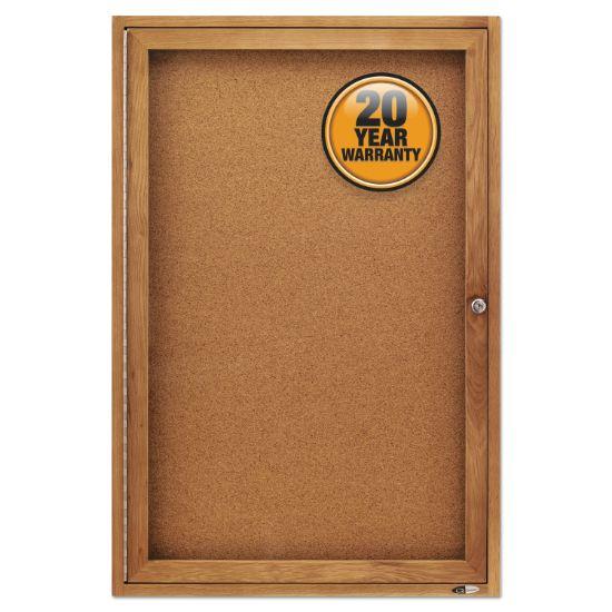 Picture of Enclosed Bulletin Board, Natural Cork/Fiberboard, 24 x 36, Oak Frame