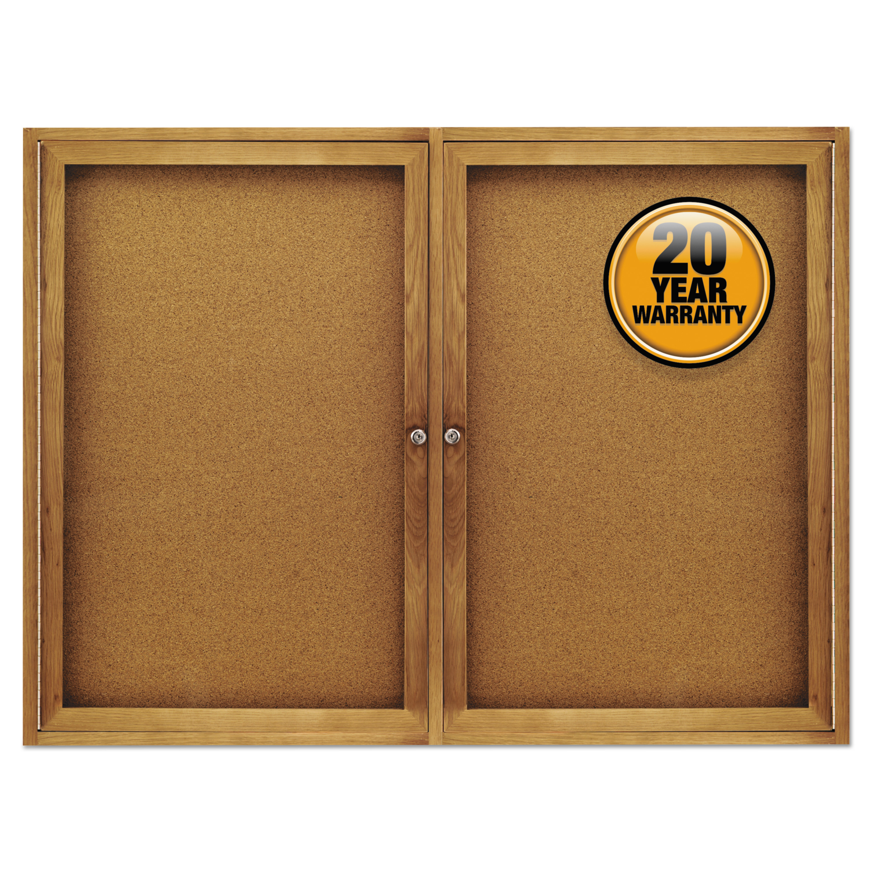 Picture of Enclosed Bulletin Board, Natural Cork/Fiberboard, 48 x 36, Oak Frame